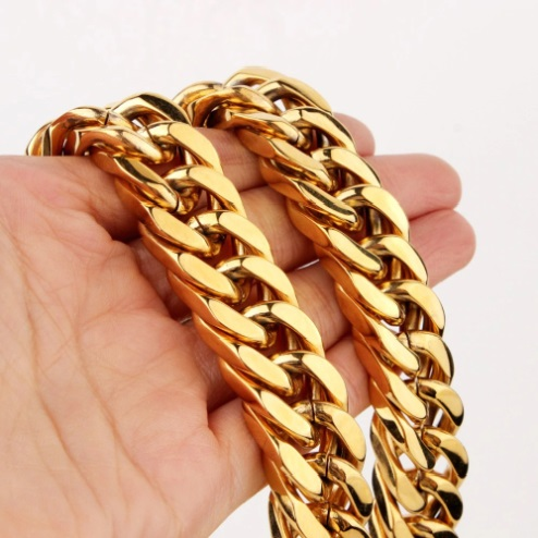 Hunde Ketten-Halsband, Goldkette Hunde Halsband, Edelstahl-Halsband, Haustier-Shop