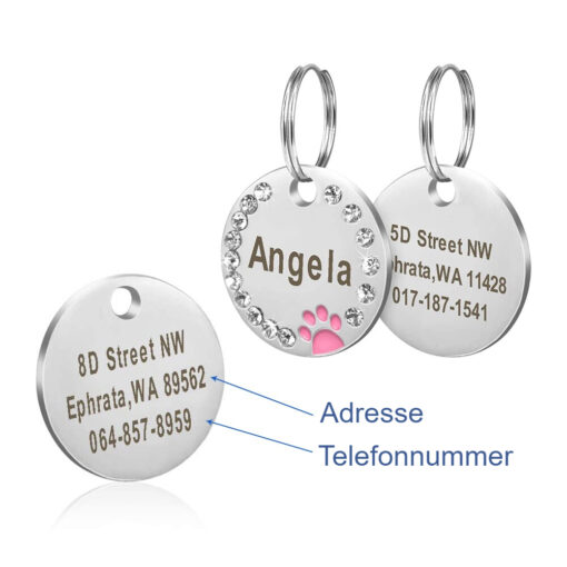 Haustiermarke ID mit Gravur Name Telefon