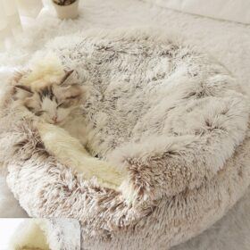 flauschiges Katzenbett halb geschlossenes Katzennest